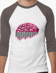 music party dj club cyborg brain machine computer science fiction microchip intelligence brain design cool robot black Men's Baseball ¾ T-Shirt