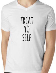 Treat Yo Self Funny Quote Mens V-Neck T-Shirt