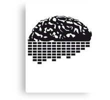 music party dj club cyborg brain machine computer science fiction microchip intelligence brain design cool robot black Canvas Print