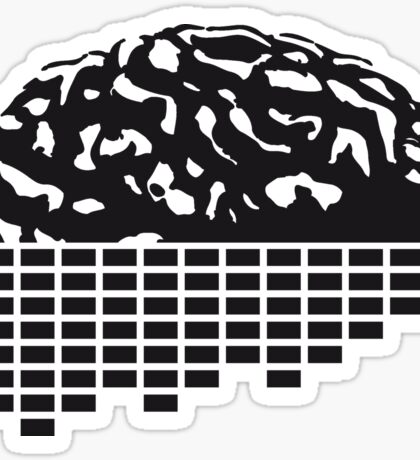 music party dj club cyborg brain machine computer science fiction microchip intelligence brain design cool robot black Sticker