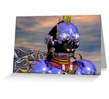 TITAN CYBORG PORTRAIT Blue Science Fiction ,Sci Fi Greeting Card