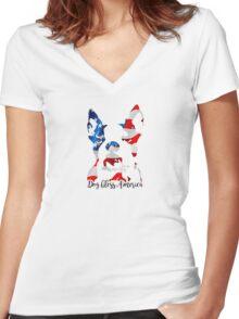 Boston Terrier Dog Bless America Women's Fitted V-Neck T-Shirt