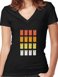 808 Button Grid Women's Fitted V-Neck T-Shirt
