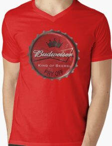 BUDWEISER BOTTLE CAP Mens V-Neck T-Shirt