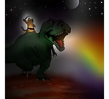 pirate cat riding dinosaur in space Photographic Print