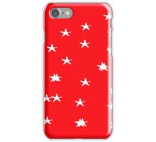 White stars pattern on tomato crimson red iPhone Case/Skin