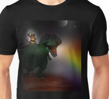 pirate cat riding dinosaur in space Unisex T-Shirt