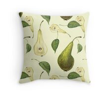 Watercolor pattern with pears Conference.  Throw Pillow