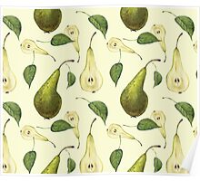 Watercolor pattern with pears Conference.  Poster