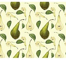Watercolor pattern with pears Conference.  Photographic Print
