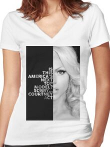 Courtney Act Text Portrait Women's Fitted V-Neck T-Shirt