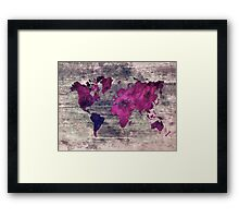 world map watercolor 7 Framed Print