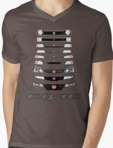 Honda Civic (Black) Mens V-Neck T-Shirt