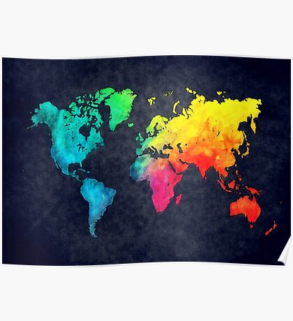 world map watercolor 6 Poster
