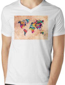 world map watercolor 5 Mens V-Neck T-Shirt