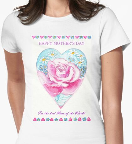 HAPPY MOTHER´S DAY - Romantic Heart with Pink Rose and little Daisies Womens Fitted T-Shirt
