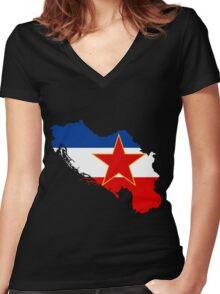 Flag-map of Yugoslavia Women's Fitted V-Neck T-Shirt