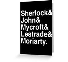Sherlock & John & Mycroft & Lestrade & Moriarty. (Sherlock) (Inverse) Greeting Card