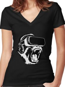 VR Gorilla Women's Fitted V-Neck T-Shirt