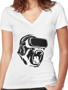 VR Gorilla Women's Fitted V-Neck T-Shirt