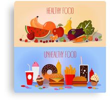 Healthy Food and Unhealthy Fast Food. Fruits and Vegetables or Fast Food and Sweets Canvas Print
