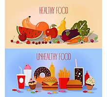 Healthy Food and Unhealthy Fast Food. Fruits and Vegetables or Fast Food and Sweets Photographic Print
