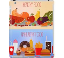 Healthy Food and Unhealthy Fast Food. Fruits and Vegetables or Fast Food and Sweets iPad Case/Skin