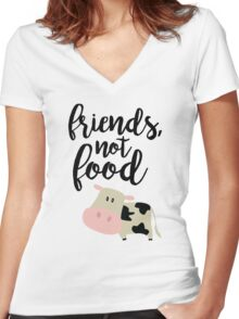 Friends Not Food - Vegan  Women's Fitted V-Neck T-Shirt