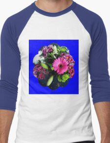 Pink Gerbera Daisy with Other Flowers Men's Baseball ¾ T-Shirt