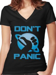Dont Panic Hitchiker Guide to galaxy Women's Fitted V-Neck T-Shirt