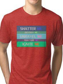 Shatter Me Book Spines Tri-blend T-Shirt