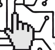 Show mouse hand click computer pc online circuitry pointer arrow control select online electronically Sticker