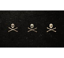 Tri Skull & Crossbones - Black Photographic Print