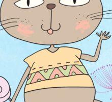 Cartoon Animals Whimsical Cat Sticker