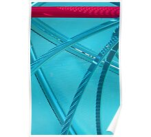 metal curves blue grill Poster