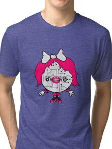 girl female woman lips ribbon sweet sexy cute robot cyborg technology future science fiction nice pink Tri-blend T-Shirt