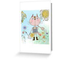 Cartoon Pets Flower Gardening Cat Greeting Card