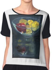 Quinces and pomegranate reflected in glass bowl Chiffon Top