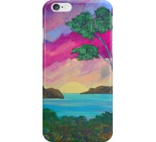 Ocean painting with volcano iPhone Case/Skin