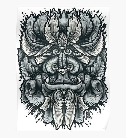 Filigree Leaves Forest Creature Beast Variant Poster