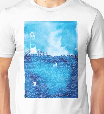 Lighthouse in Rough Seas Unisex T-Shirt