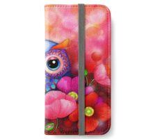 Owl in Poppy Field iPhone Wallet