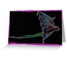 Flying Dragon Kite on Black Greeting Card