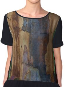 Abstract in Summer Gum Tree Bark  Chiffon Top