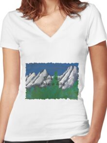 Time to take a hike in the mountains Women's Fitted V-Neck T-Shirt