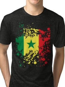 Senegal Flag Ink Splatter Tri-blend T-Shirt
