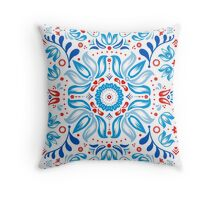 Folk Floral Tale in White Throw Pillow