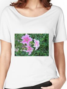 Pink flowers macro, natural background. Women's Relaxed Fit T-Shirt