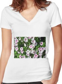 Pink flowers bush in the garden. Women's Fitted V-Neck T-Shirt