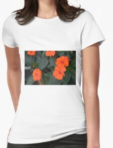 Orange flowers and green leaves bush. Womens Fitted T-Shirt
